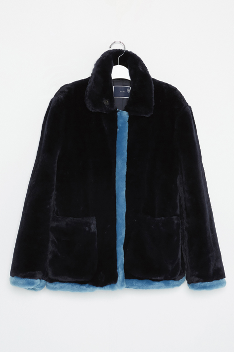 16FW NAVY FAUX FUR JACKET