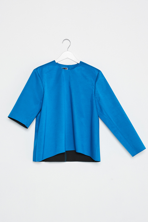 16FW UNBALANCE SLEEVE CURVED TOP (BLUE)