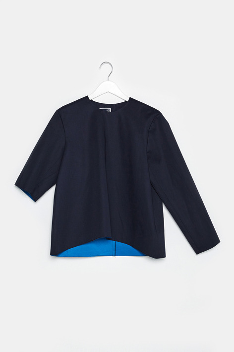 16FW UNBALANCE SLEEVE CURVED TOP (NAVY)