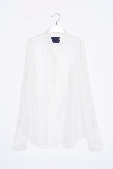 16FW OVER CUFFS ORGANZA SILK SHIRT