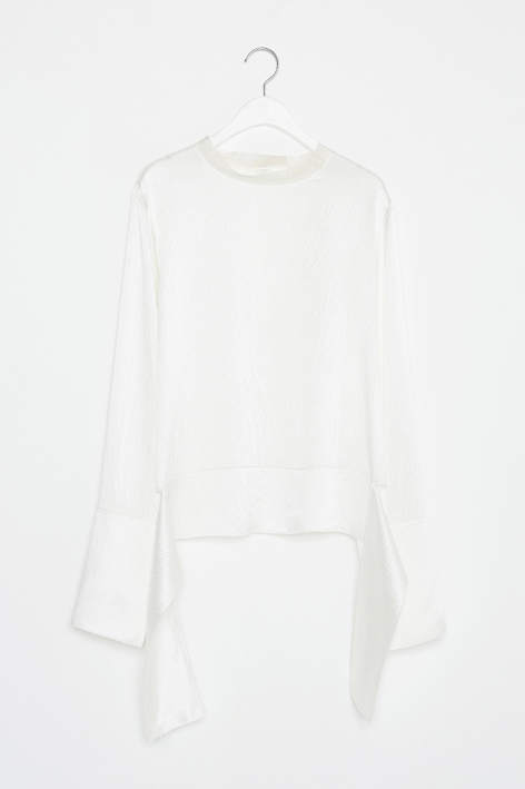 16FW WIDE CUFFS SILK BLOUSE (WHITE)