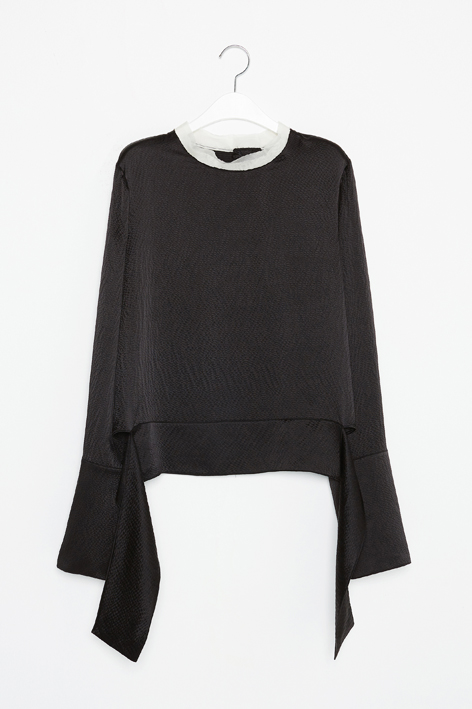 16FW WIDE CUFFS SILK BLOUSE (BLACK)