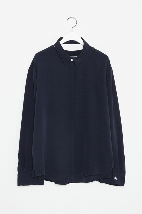 16FW SLICE SILK SHIRT (NAVY)