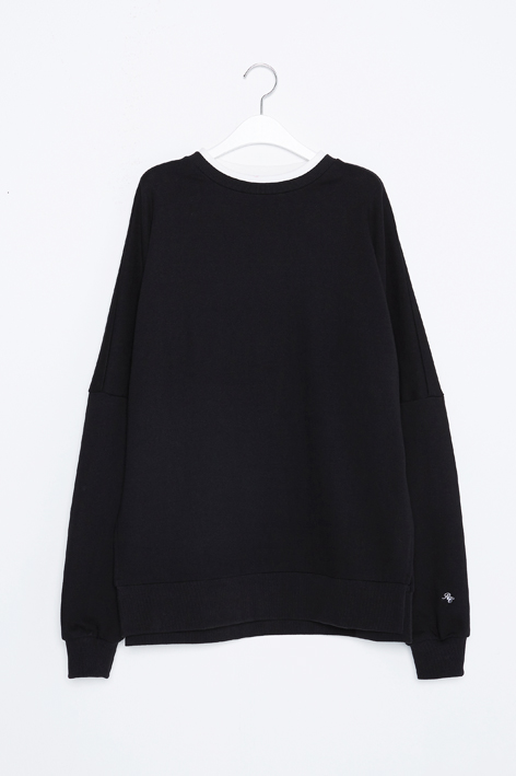 16FW OVERSIZED DOUBLE NECK SWEAT (BLACK)