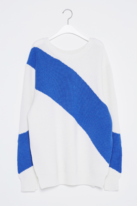 16FW DIAGONAL LINE SLIT KNIT (WHITE)