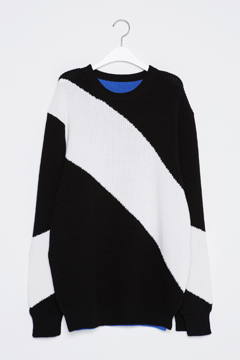 16FW DIAGONAL LINE SLIT KNIT (BLACK)