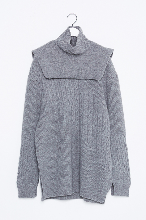 16FW NECK WARMER CABLE KNIT PULLOVER SET (GREY)
