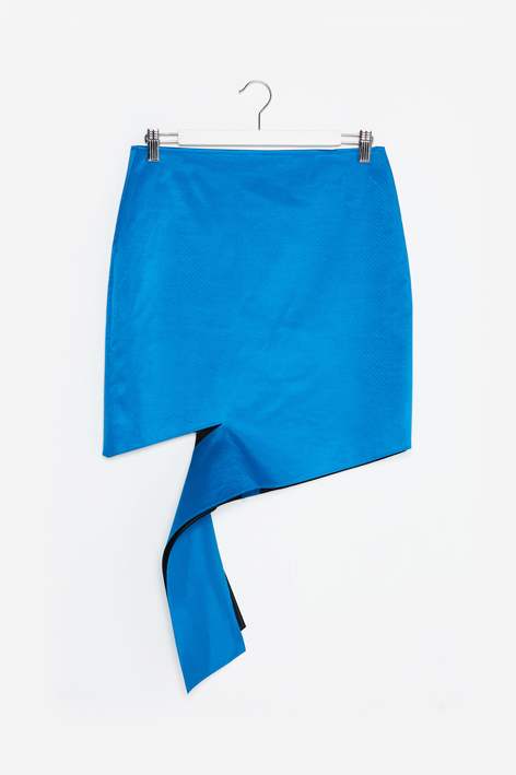 16FW UNBALANCE CUTTING SKIRT (BLUE)