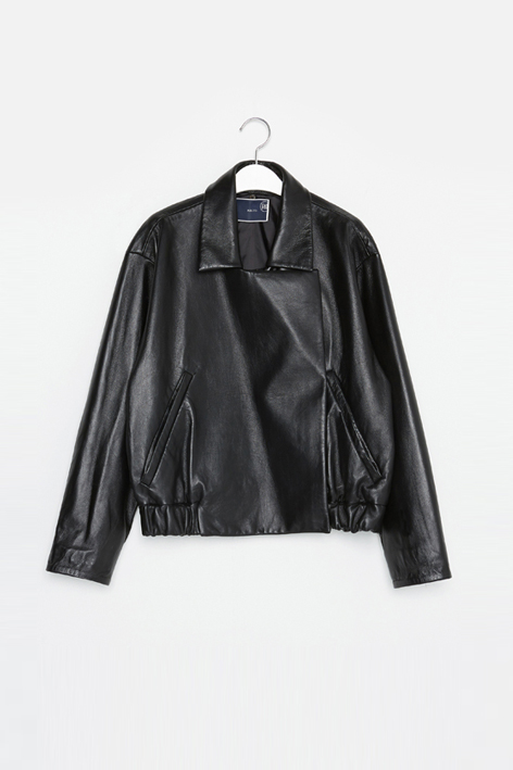 16FW DETACHABLE COLLAR LEATHER JACKET (BLACK)
