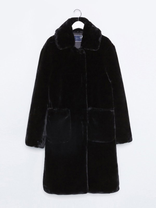 16FW DETACHABLE COLLAR FAUX FUR COAT